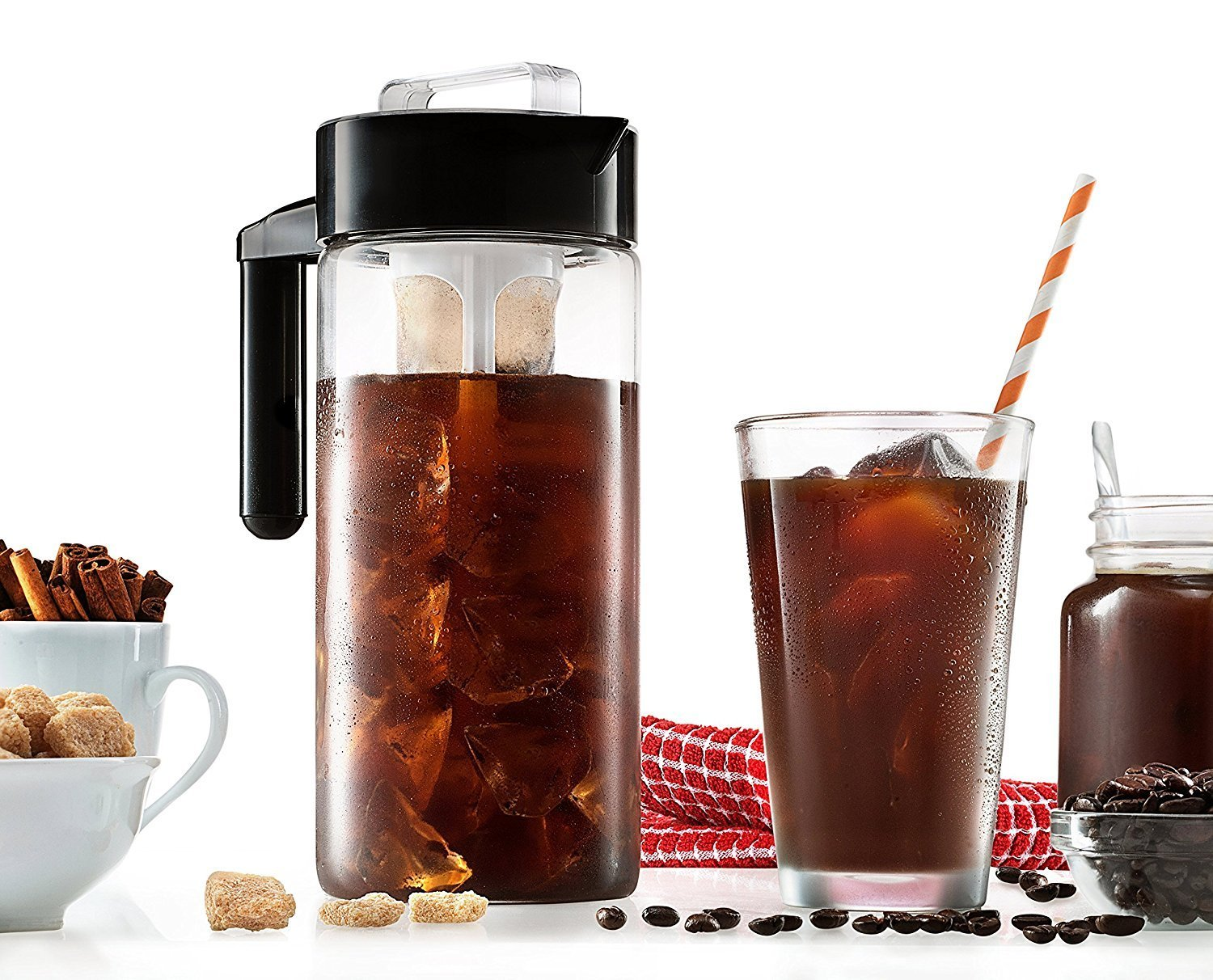 New Arrive Iced Cold Brew Coffee Maker glass Tea, fruit pitcher With Removable Coffee Filter  with Airtight Lid &Silicone Handle