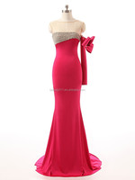 Latest Fashion Design Beaded Sheath Strapless One Sleeve Floor-Length beaded evening dress prom gown ZS15-05