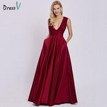 Платье женское, красное, длинное, вечернее, без рукавов, с треугольным вырезом(Китай)