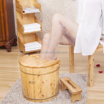 360mm High Trandistional Cedar Wood Foot Spa Tub For Foot Soaking