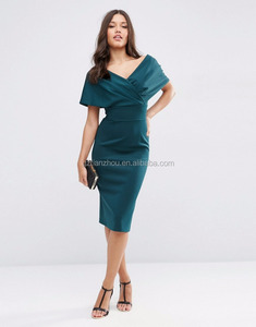 Guangzhou Wholesale Midi Bodycon Dress off-the shoulder cape design Ladies Dress Pleat wrap detailing Picture