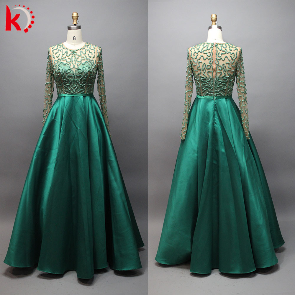 Beaded Ball Gown Long Sleeve Plus Size Evening Dress - Buy Plus Size ...