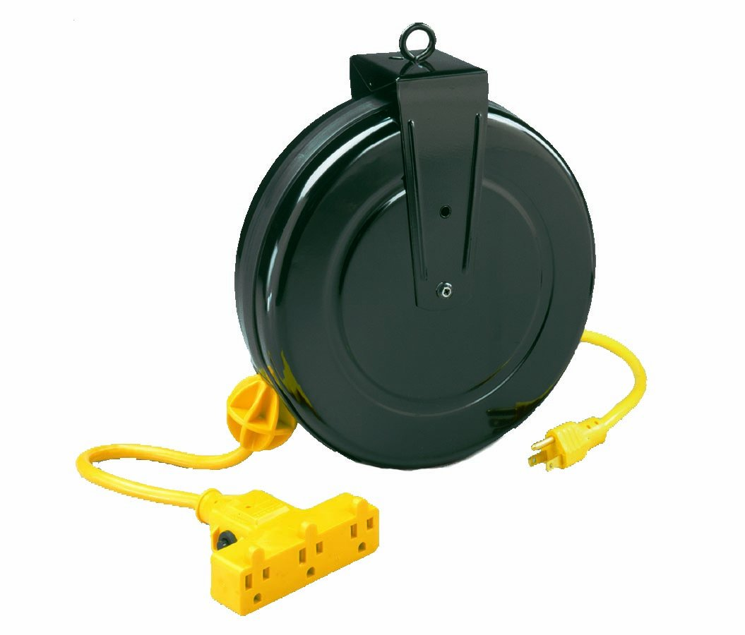 Alert Stamping 5000M-30GF-CB 30-Feet Retractable Extension Cord Reel with Circuit Breaker