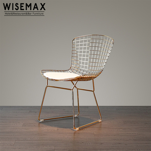 Modern outdoor wire mesh metal iron net replica gold Lucy wire dining chair