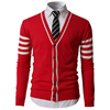 Fashion cardigan design woolen long sleeve men's knitted varsity sweater coats with stripes