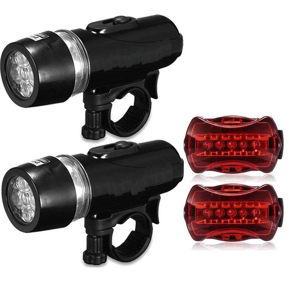 NOVPEAK Bicycle Light Set, 5 LED Headlight + 5 LED FREE Taillight Waterproof Quick-Release Bike Front Headlight and Rear Lights for Kids Men Women Cycling Safety Flashlight (2 Pack)