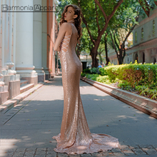 FL392 stand neck hollow out crisscross sexy rose gold long sequin evening dress