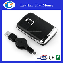 Promotional items unique retractable usb cable optical mini mouse with leather
