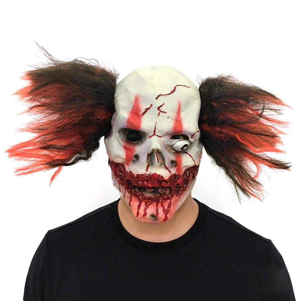 fb37b76625b Get Quotations · HATABO Scary Clown Mask Headgear Halloween Latex Mask  Headgear Halloween Adult Costume Party Costumes Cosplay Mask