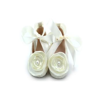 Baby Girl Infant Christening Baptism Satin Shoes Dance Ballerina ... d705751c9ed7