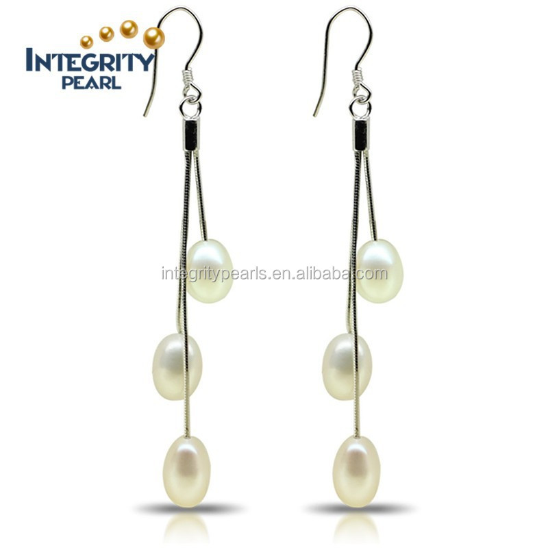 2016 new design AAA freshwater rice shaped long dangle pearl earrings