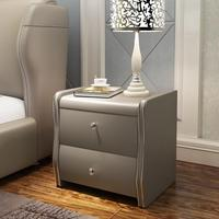 fashion new arrival bedroom furniture pu leather bedside table night stand with two drawers