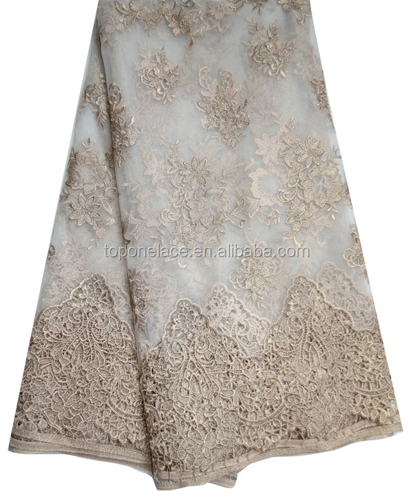 Wholesale Korean design french lace gold Embroidery Lace fabrics mesh lace fabric