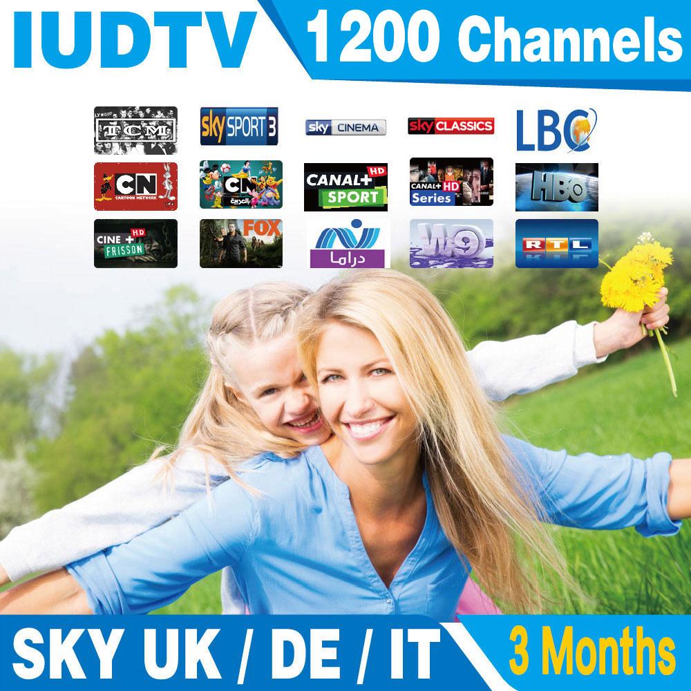 Arabic European IPTV 3 months IUDTV 1200 TV Sky DE UK IT Box Office Canal Turkey