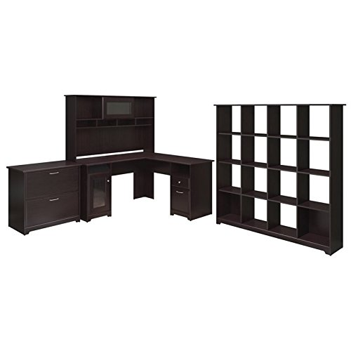 Get Quotations · Bush Furniture Cabot L Shaped Desk, Hutch, 16 Cube  Bookcase, And Lateral File