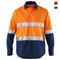 custom wholesale yellow navy 100%cotton safety hi vis work wear