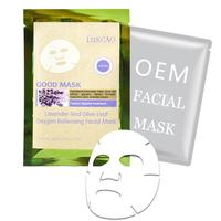 Soothing moisturizing repairing organic lavender oil essence with olive leaf silk facial mask OEM