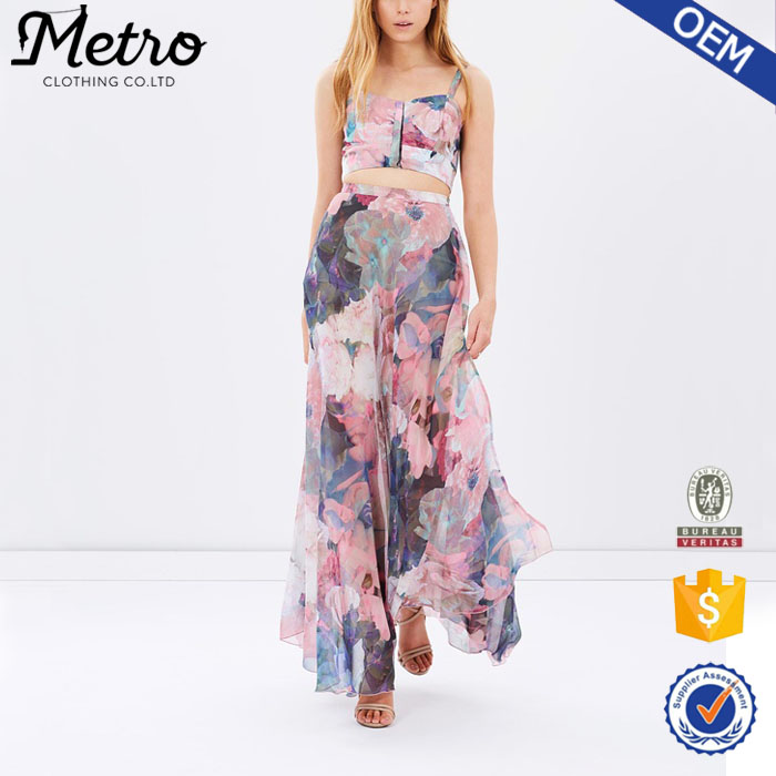 Floral Print High Rise Side Splits Long Fitted Chiffon Maxi Skirt