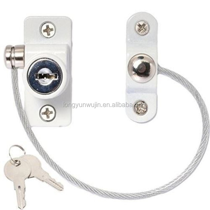 White UPVC Cable Window Door Restrictor Child Safety Lock Window Cable Lock