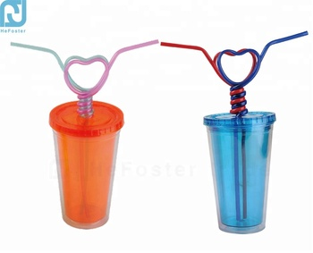 Plastic double layers couple drinking cup with heart straw