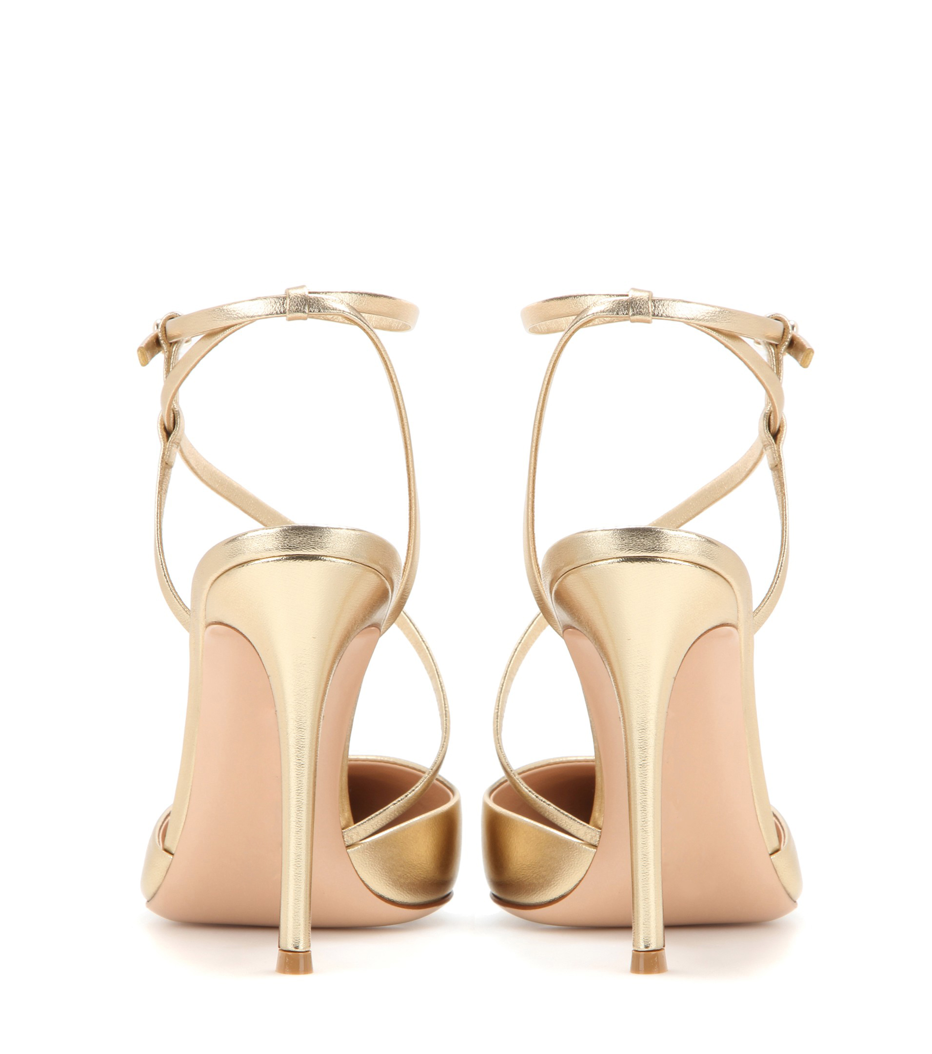 b3307ceed07a Metallic gold stiletto girls high heels fashion high quality slingback  pointed toe ladies shoes