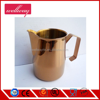 Copper Painting Stainless Steel Milk Jug Hot Milk Cup Suitable With Heat Proof Handle For Coffee Latte Frothing Milk Buy Stainless Steel Measuring