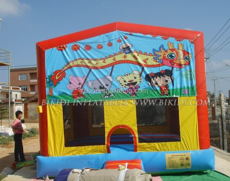 Inflatable bouncer, bouncy castle, moonwalk with cartoon banner B2072