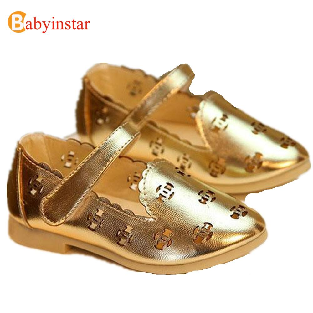 Super Cute 2016 New Summer Princess Baby Girl Shoes Children Hollow Sandals Gold Silvery Leather Girls