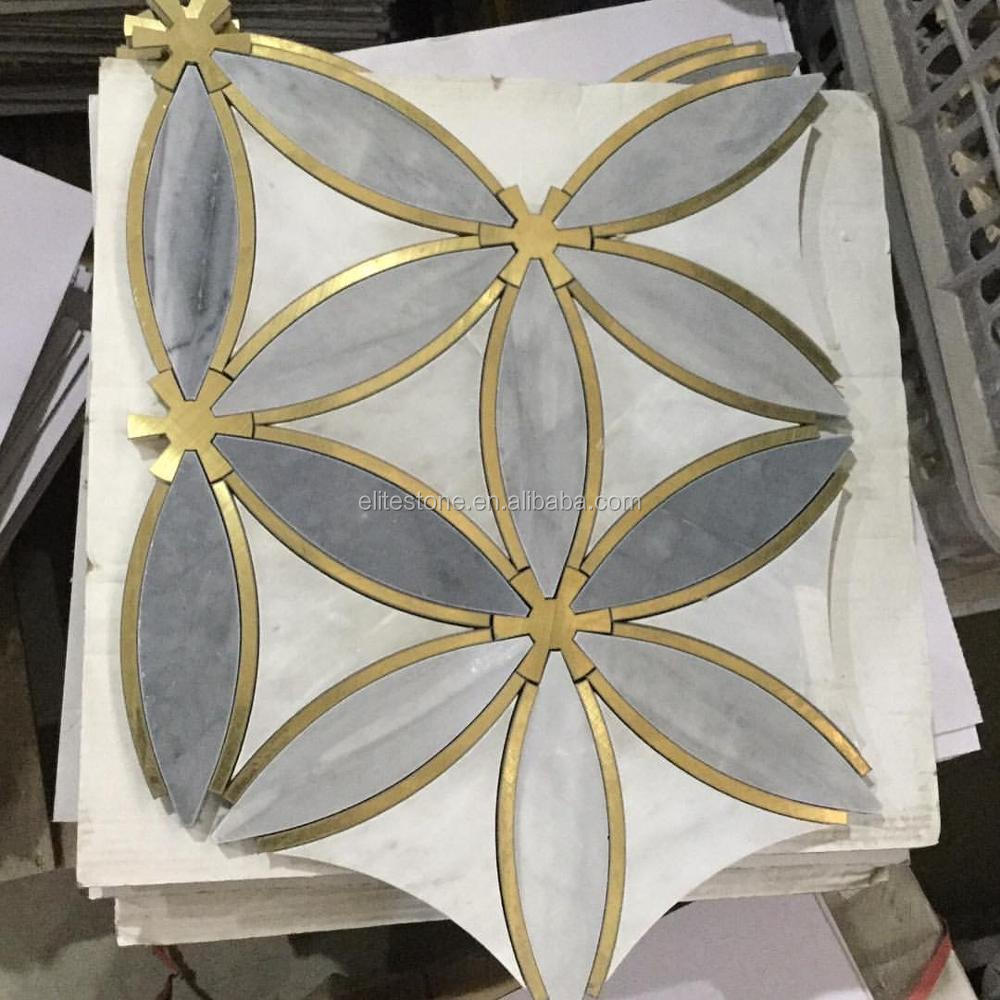 Waterjet Mosaic Tile Marble With Brass Inlay Luxury Tile
