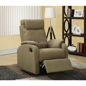 Light Brown Linen Fabric Swivel Rocker Reclining Chair