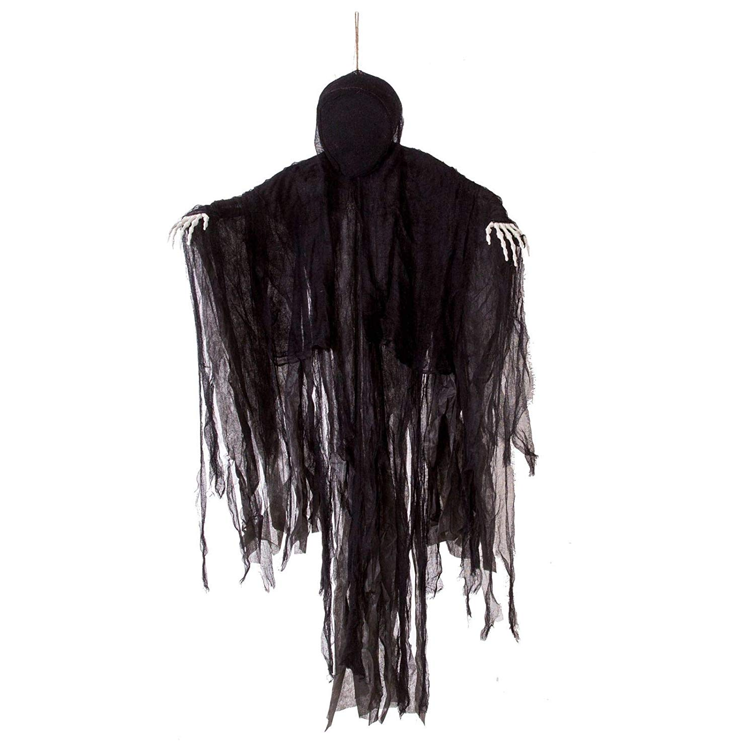 5 Ft Dark Hanging Grim Reaper, Faceless Ghost in Black Horror Robe for Best Halloween Hanging Decorations