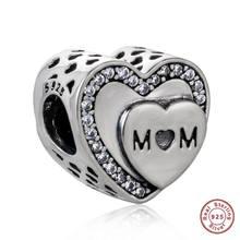Аутентичные 925 пробы серебро мать серии талисманы бусины с австрийским кристаллом для подарок на день матери fit Pandora браслет(Китай)