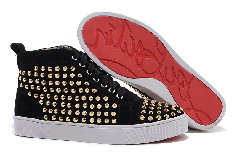 Gold Flat Nails Black Matte Leather High Top Shoes Fashion 2015 Hot Sale Red Bottom Sneakers Size 35 46