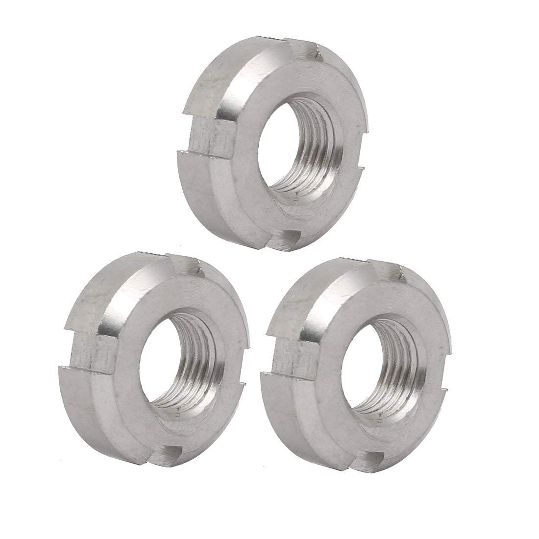 uxcell 3pcs M12x1.25mm 304 Stainless Steel Slotted Round Castle Nut for Hook Spanner