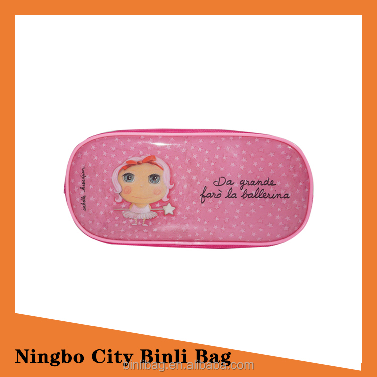 High Capacity Pink Rose Pencil Case Daily Hand Bag For Girls
