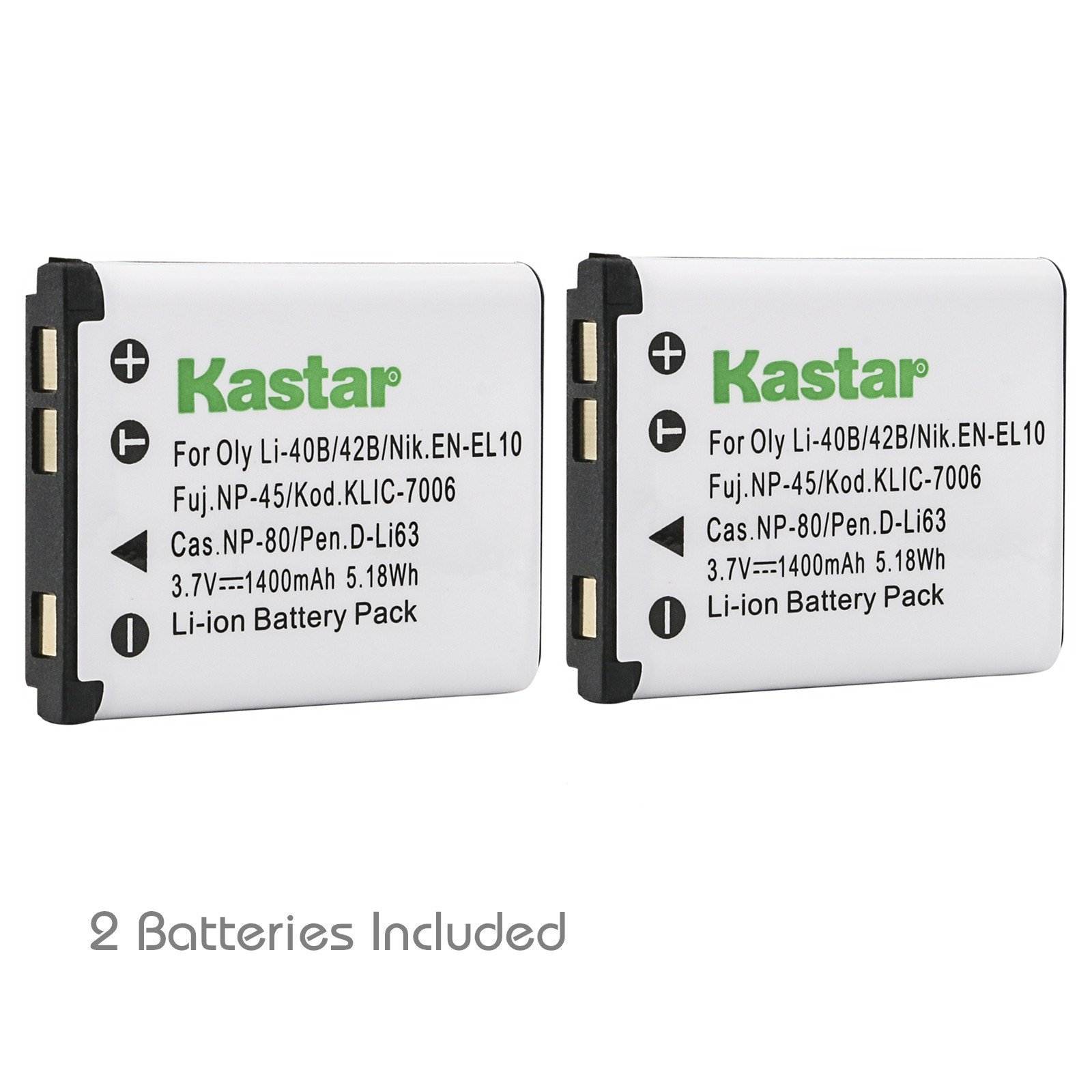 Kastar Battery (2-Pack) for Nikon EN-EL10 MH-63 work with Nikon Coolpix S60, S80, S200, S210, S220, S230, S500, S510, S520, S570, S600, S700, S3000, S4000, S5100 Cameras