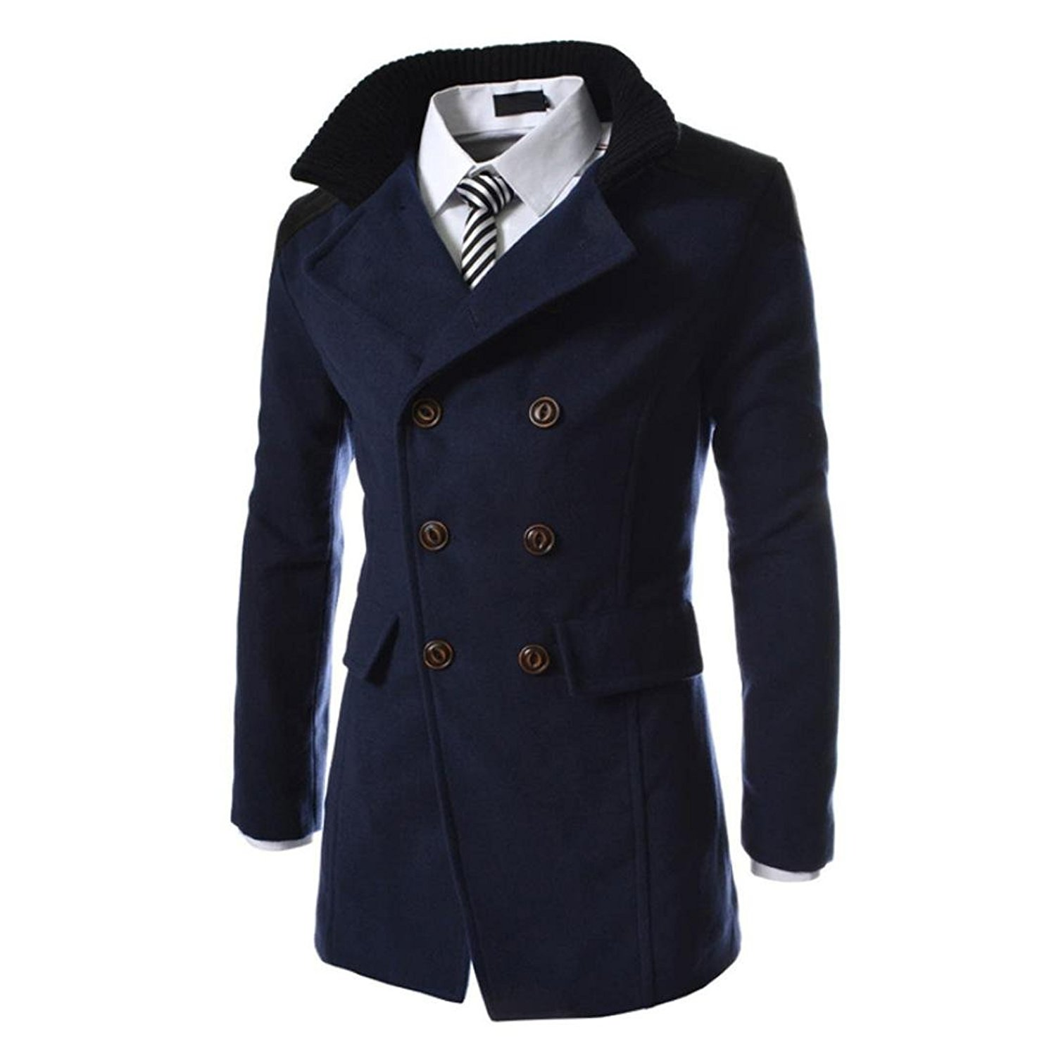 f19178cd3aa7 Get Quotations · Amiley Overcoat Men, Mens Warm Winter Pea Coat Double  Breasted Jacket Overcoat