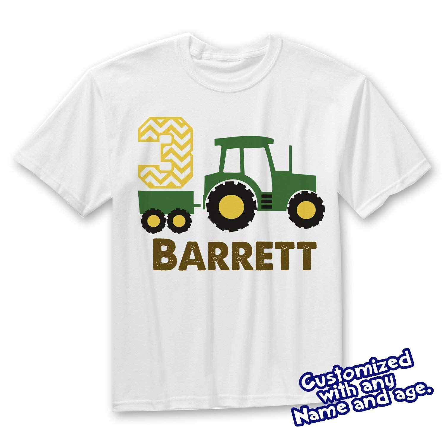 d5d8519f9 Get Quotations · Tractor Birthday Boy Toddler T-Shirt, Farm Party Birthday  shirt