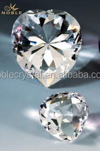 Clear Glass Heart Shaped Diamond Cut Blank K9 Crystal Paperweight For Wedding Giveaway Gift.