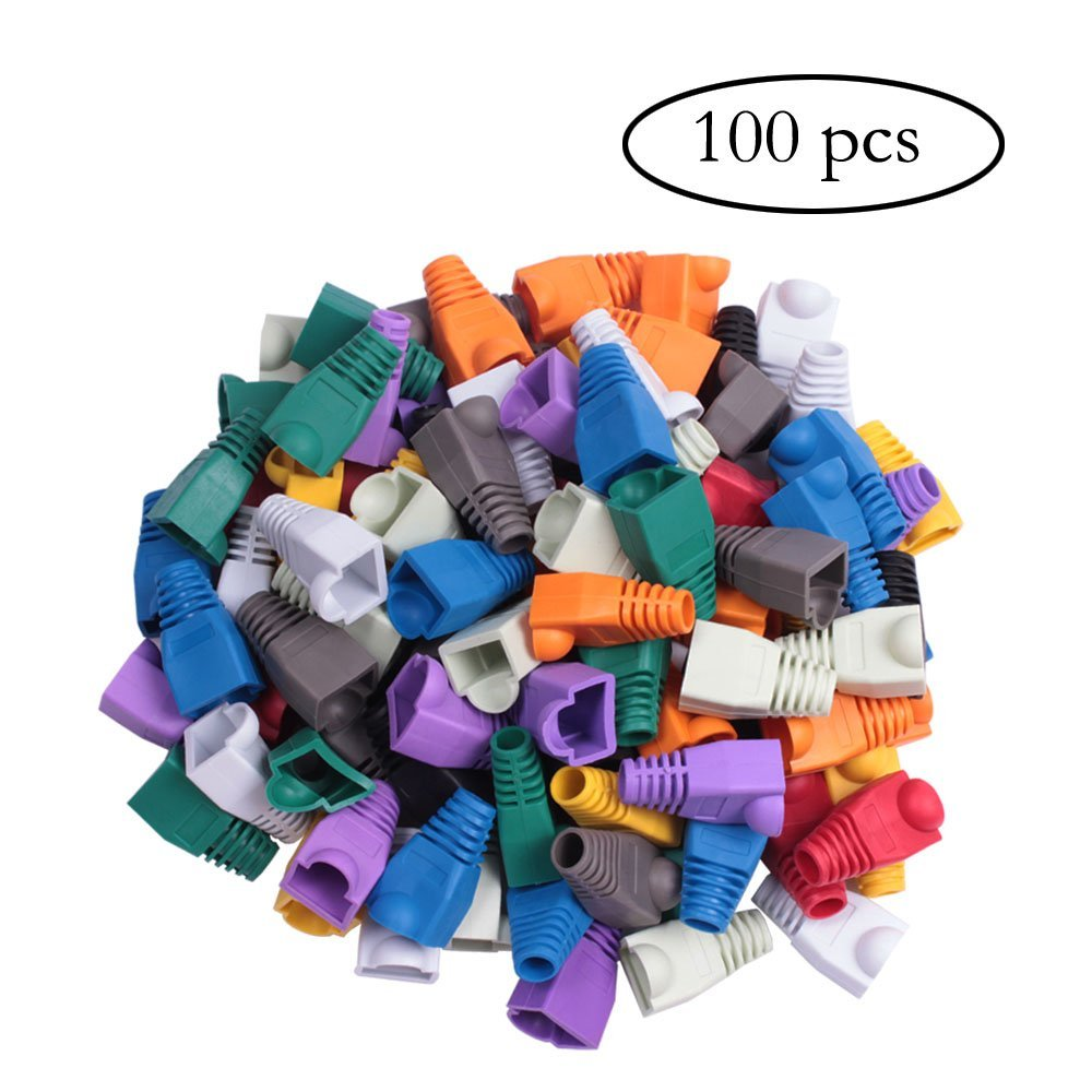 Teenitor 100-Pack Mixed Color CAT5E CAT6 RJ45 Ethernet Network Cable Strain Relief Boots Cable Connector Plug Cover