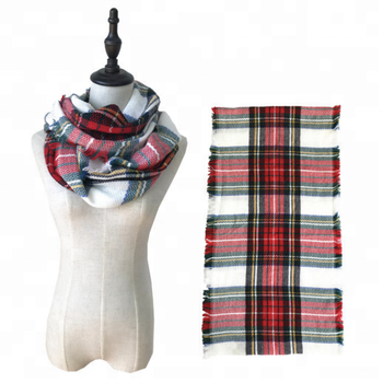 Wholesale 2018 winter factory price fashion tartan plaid cashmere feeling infinity scarf