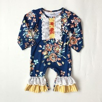 Hot selling 2019 print flower cotton fabric fashion latest design lace style newborn rompers