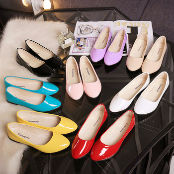 Flat single-shoe light-mouthed candy-colored set of foot paint women's shoes casual round head flat heel work shoes 1004