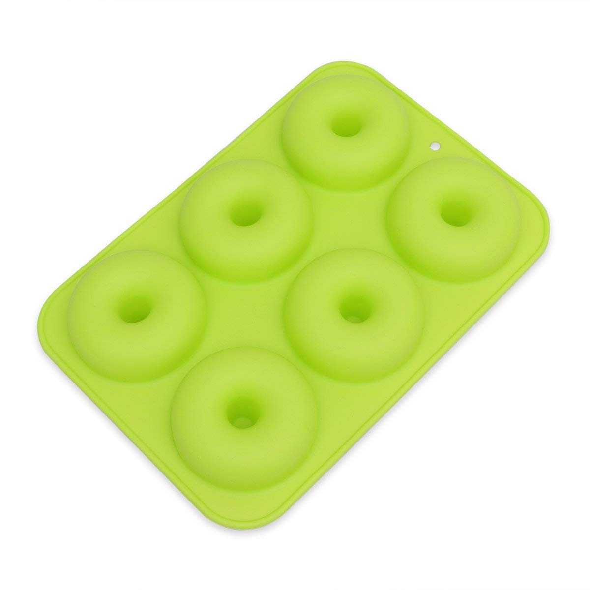 BESTOMZ 6-CavitySilicone Donut Baking Pan/Non-Stick Donut Mold for Cake Biscuit Bagels Muffins (Green)