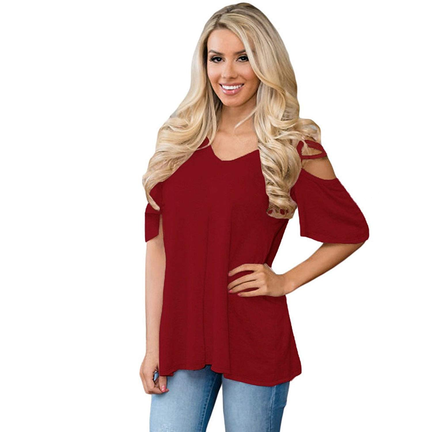 Paymenow Solid Blouse for Women, Clearance Casual V Neck Criss Cross Short Sleeve Shirts Tops Flowy Summer T Shirts