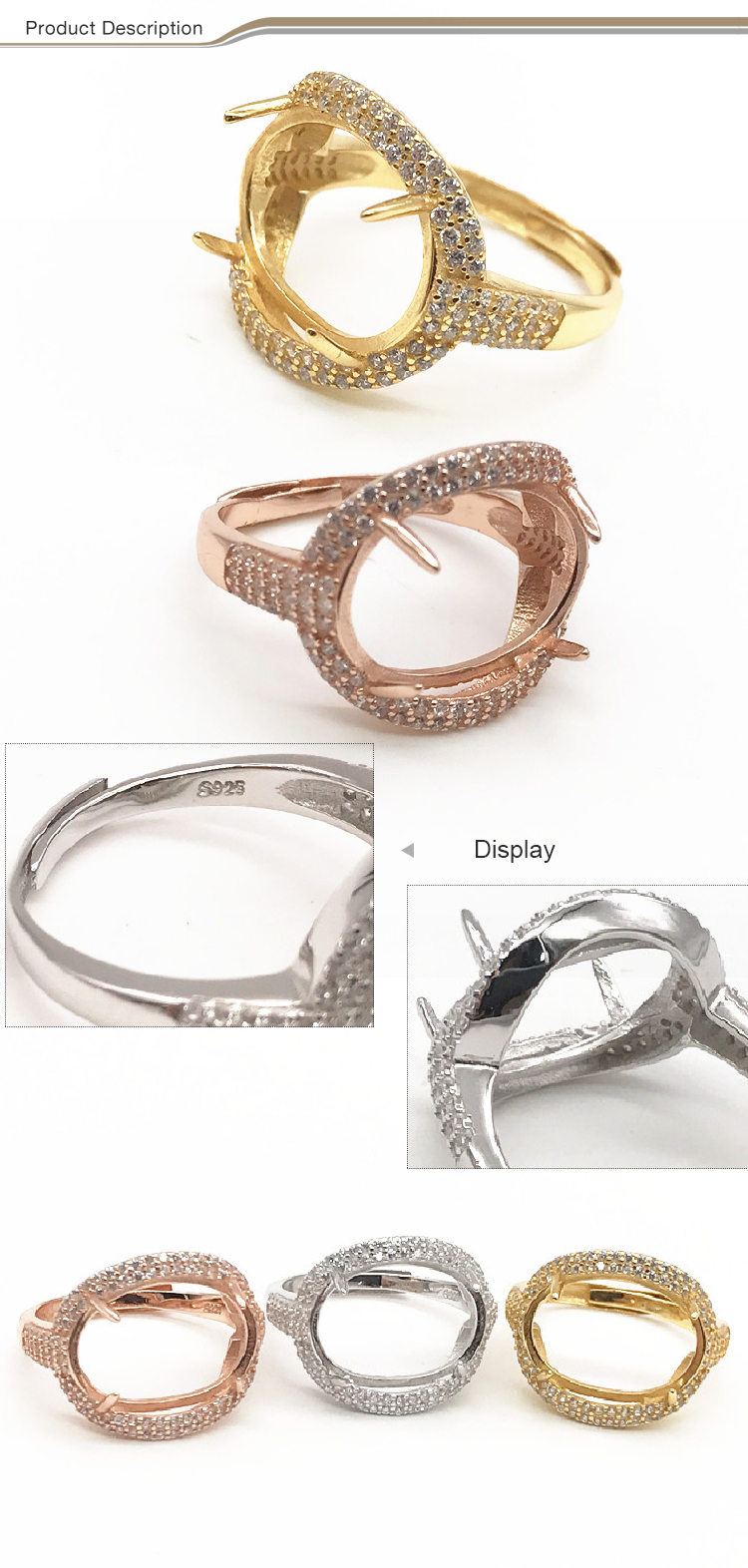 Valentine's day silver Gold plated DIY purity ring settings 925 diy without stone pearl ring mountings for women