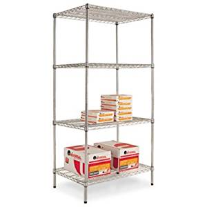 ALERA SW503624SR Wire Shelving Starter Kit, Four-Shelf, 36w x 24d x 72h, Silver