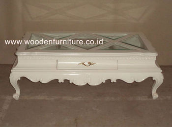 Antique Reproduction Living Room Furniture Wooden Coffee Table - White french style coffee table