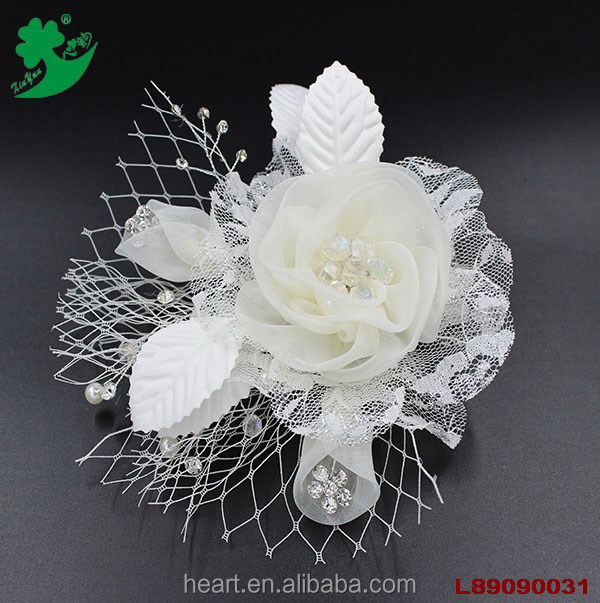 Fancy white jewelry leaves mesh net decorating wedding banquet hair accessory women church hats wholesale 89090