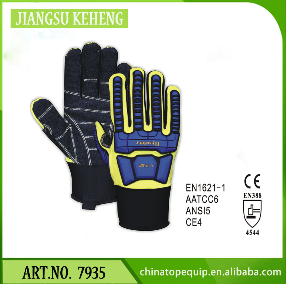 Anti Vibration Oil Resistant Auto Mechanic Glove with TPR Sewing